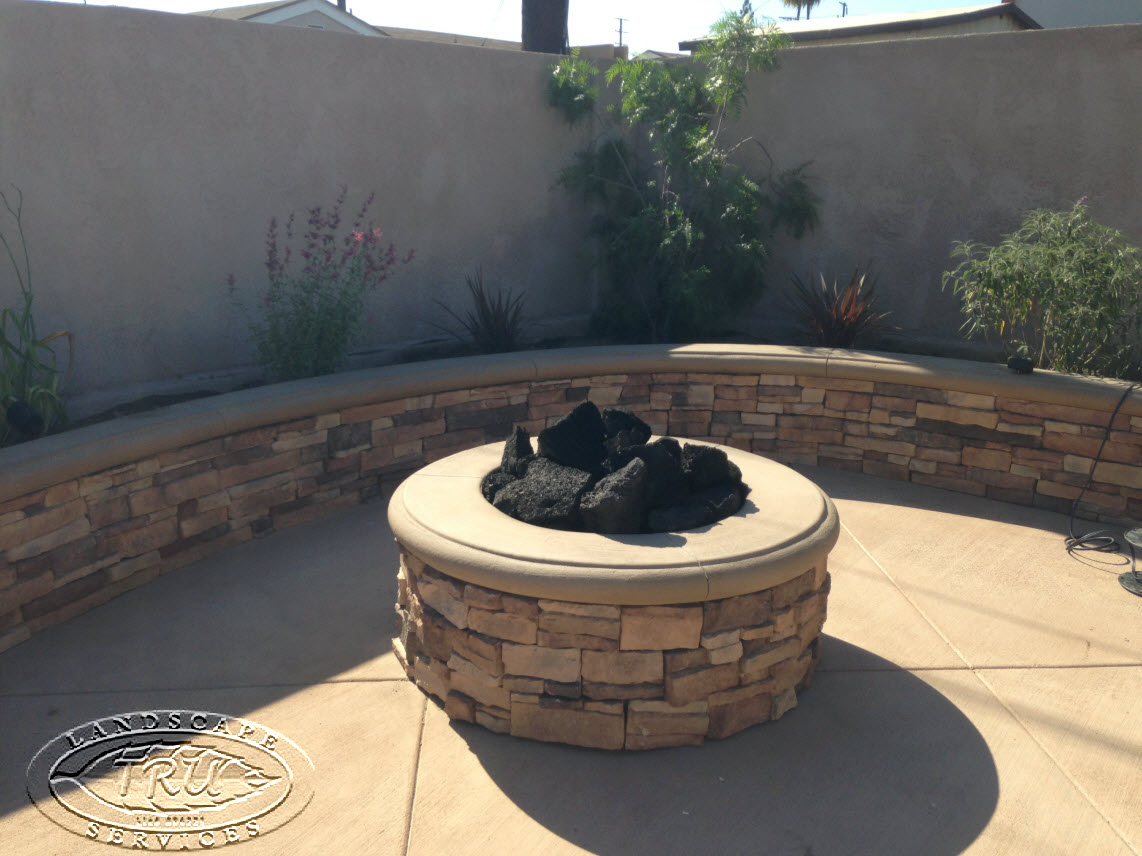 Cypress Fire Pit. Fire Pit And Block Wall With Stack Stone