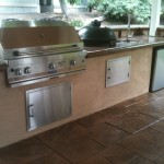 Barbecue Island and Stamped Concrete
