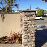 Stacked Stone and Stucco Wall