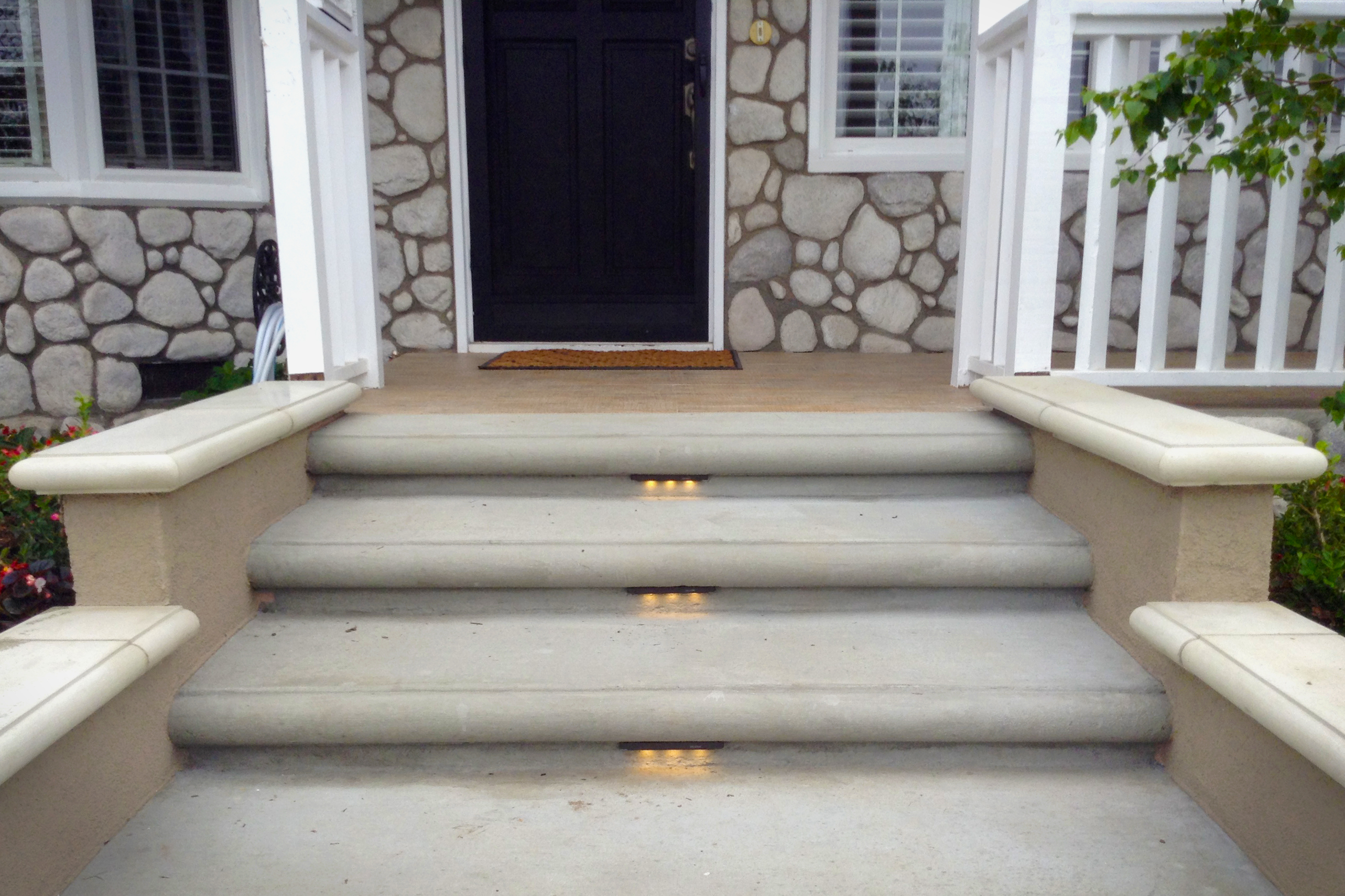 Front Porch Steps : Concrete entryway remodel landscape lighting installation