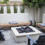 Fire Pit and Paver Patio with Stucco Benches