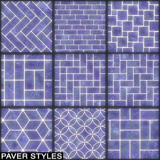 Nine interlocking paver designs from herringbone to brick layout